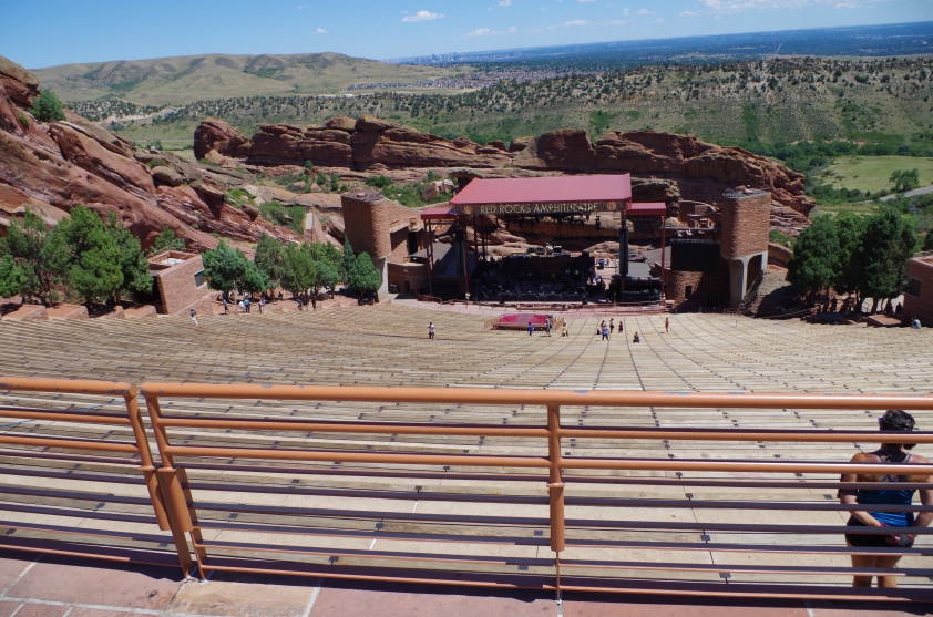 The view from the amphitheater overlooks Denver