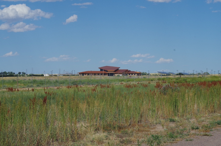 The sizable Visitor's Center across the Refuge's prairie, which we didn't get to visit as it was closed.